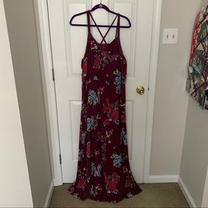Stunning Plum Maxi Dress with Lace Detail NWT